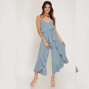 Cami Woven Jumpsuit- MISTY BLUE